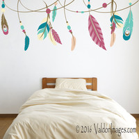 Feather ribbon wall decal, dorm room wall decor, bedroom wall decal, boho wall decal, living room decal, feather decal, bohemian decor