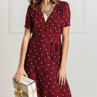 Lynette Burgundy Polka Dot Wrap Dress