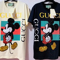 Alwayn Gucci Woem Man Shirt Black Beige Tee Mickey Mouse Green Red Stripe Top Shirt
