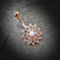 Gold Flower Sparkly Crystal Paved Opal Belly Ring 14ga Navel Ring Body Jewelry Piercing Surgical Steel