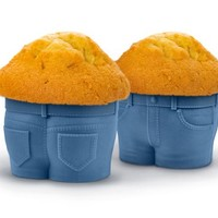 Fred & Friends MUFFIN TOPS Denim-Style Baking Cups, Set of 4