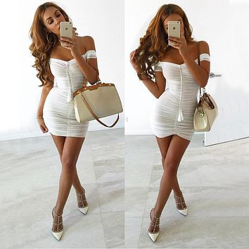 Temperament Solid Color Off Shoulder Short Sleeve Gauze Folds Mini Dress
