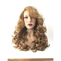 Dark Blond Curly Full Human Hair Blend Multi Parting Lace Front Wig -