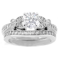 Engagement Ring - Round Diamond Butterfly Vintage Engagement Ring setting & Matching Wedding Band 0.16 tcw. In 14K White Gold - ES334BS