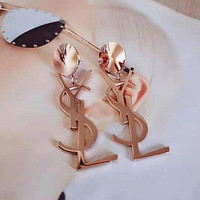 Ysl Fashion Temperament English Letter Pendant Earrings Female Earrings Titanium Steel Rose Gold Jewelry