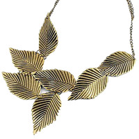 Layered Leaf Pendant Chain Necklace