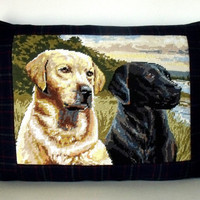 Luxury French Needlepoint Tapestry Labradors Dogs Ralph Lauren Plaid Wool  Pillow Cushion Coussin Cover