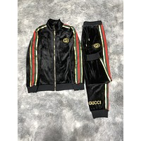 Gucci 2020 new color matching letter printing sports suit two-piece
