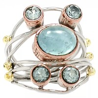 Aquamarine & Blue Topaz Sterling Silver Three Tone Collage Ring