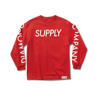Supply Long Sleeve Tee in Red