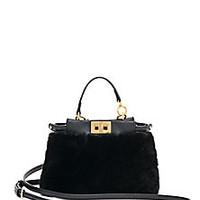 Fendi - Peekaboo Micro Shearling Satchel - Saks Fifth Avenue Mobile