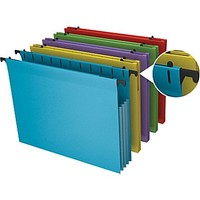 Staples® Poly Expanding Hanging File Jackets, Letter, Assorted, 5/Pack