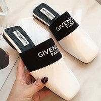 Givenchy summer female letter square head half drag beach mule shoes White