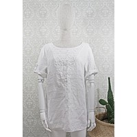 Embroidered  Linen Tunic Top