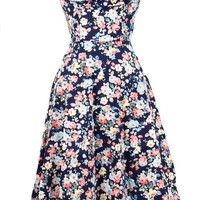Ophelia Spring Garden Swing Dress in Dark Blue | Blame Betty