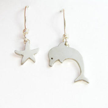 Dolphin and Starfish Earrings - Asymmetrical Dangle Earrings - Sterling Silver ,Animal Jewelry - Hand Cut