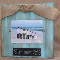 Distressed Aqua beadboard picture frame for 5x7 photo with chalkboard plaque and burlap bow