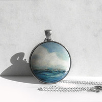 Ocean Necklace, Ocean Jewelry,  Small Sea Painting Charm, Hand Painted Pendant, German Art Painting, Bezel Necklace, Hand Painted by Artdora