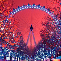 The London Eye at night Pink 8x12 signed by HConwayPhotography