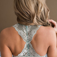 Hideaway Two Toned Lace Racer Back Bralette (Mint & Pearl)