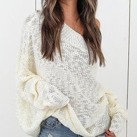 White Off Shoulder Long Sleeve Knit Sweater