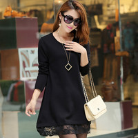 Solid Color Knitted Lace Hem Slit Longline Sweater