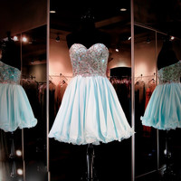 Cheap Sweetheart Light Blue Short Homecoming Dresses 2017 Prom Dresses Gown Formal Cocktail Dress for Graduation Plus size