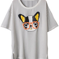 French Bulldog Print Striped High Low White Blouse