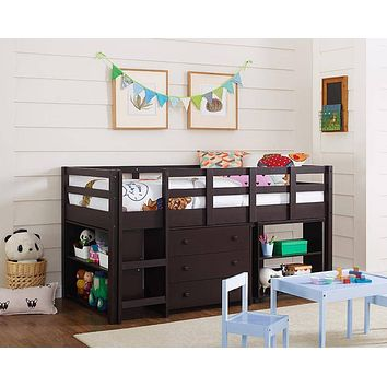 Gabriel Espresso Loft Bed with Desk and Dresser in One