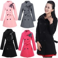 Women Double-breasted Luxury Winter Wool Coat Jacket  3351 = 1745483396