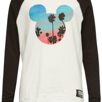 Neff Disney Collection Scenic Mickey Girls Raglan Tee Black/White  In Sizes