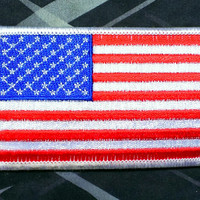 Iron-On American Flag Patch 3 1/2'' X 2 1/8''