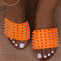 New hot selling all-match flat-bottom nail sandals and slippers