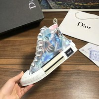 Dior Fashion Women Casual Breathable Sneakers Sport Shoes high top boots top quality blue