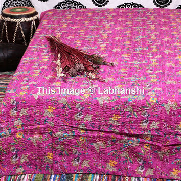 Queen kantha Quilt , Kantha Throw , Kantha Blanket , bohemian quilt , Indian Quilt , Kantha Bedspread , Floral Quilt , Queen Bedding
