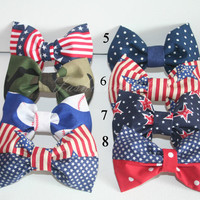Hair Bows ** ANY BOW OF YOUR CHOICE *** (American Inspired, Military, 4th of July, Camo, Polka Dots, American Baseball )