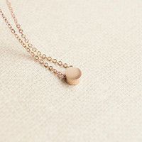 Necklace- Rose Gold tiny round bead necklace, rose gold nugget necklace