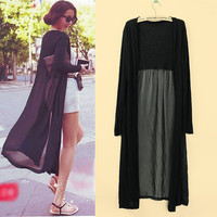 Women Lightweight Stitching Sheer Gauze Knitting Long Maxi Cardigan Black/White