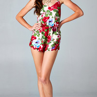 BACKLESS FLORAL SCALLOPED ROMPER