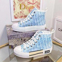 Dior CD new fashion men's and women's high-top gradient color letter canvas shoes casual sports shoes