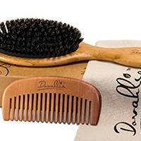 Boar Bristle Hair Brush Set for Women and Men - Designed for Thin and Normal Hair - Adds Shine and...