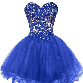 Sunvary Lace and Tulle Short Homecoming Dresses for Juniors Pageant Gowns - US Size 4- Royal Blue
