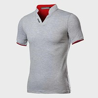 Fashion Casual Men Notched Neck Letter Graphic Polo Shirt