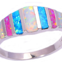 Created Pink Blue White Fire Opal Silver Plated Beautiful Ring