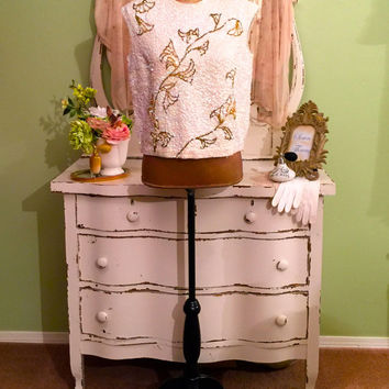 Vintage Beaded Top, Sequined Tunic, Iridescent Gold Top, Large, Silk Blouse, Art Deco Floral Top, trophy Top, Heavily Sequin & Beaded Tunic
