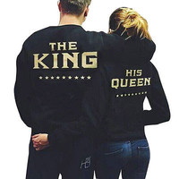 New Arrive winter Couple Hoodie Sweatshirt The King and His Queen-Love Matching Shirts Couple Tee