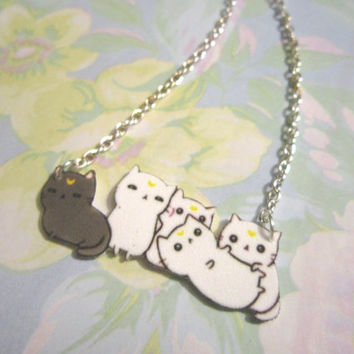 Sailor Moon Necklace, Cat Necklace, Luna and Artemis, Kawaii Kon, Comic Con, Geekery, Geek Girls, Gifts for Nerds, Fashion Jewelry, NECKLACE