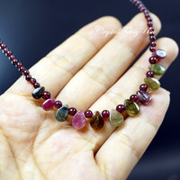 Genuine Tourmaline Necklace - Garnet Necklace - Multi Watermelon Tourmaline Choker  - Beaded Teardrop Tourmaline Jewelry