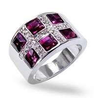 Christmas Gifts Princess Cut Simulated Amethyst Cocktail Ring Rhodium Plated