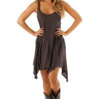 All Over Again Dress: Charcoal Gray
